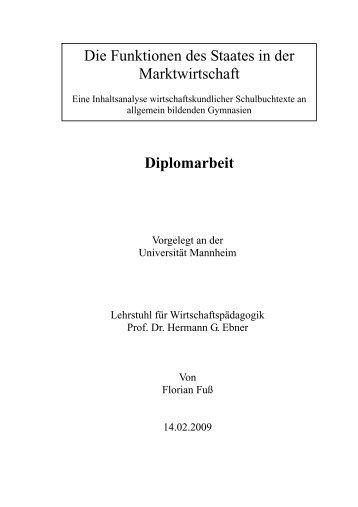 Diplomarbeit Die Funktionen des Staates in der ... - Ebner