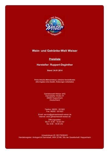 Preisliste für Hersteller: Ruppert-Deginther - und Getränke-Welt ...
