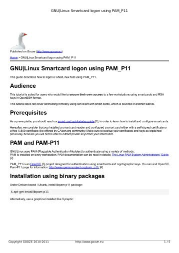 GNU|Linux Smartcard logon using PAM_P11 - GOOZE downloading