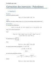 Correction des exercices polynômes