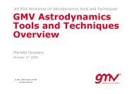 GMV Astrodynamics Tools and Techniques Overview - ESA