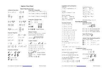 Algebra Cheat Sheet ... - Pauls Online Math Notes
