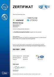 Zertifikat für das Qualitätsmanagement nach ISO ... - Wieland Electric