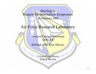 Air Force Research Laboratory Directed Energy Directorate