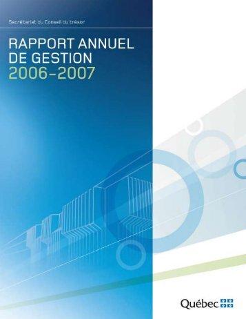 Rapport annuel de gestion 2006-2007 du Secrétariat du Conseil du ...