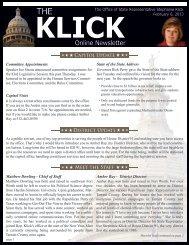 Rep. Klick Newsletter 2-6-2013 - Texas House of Representatives