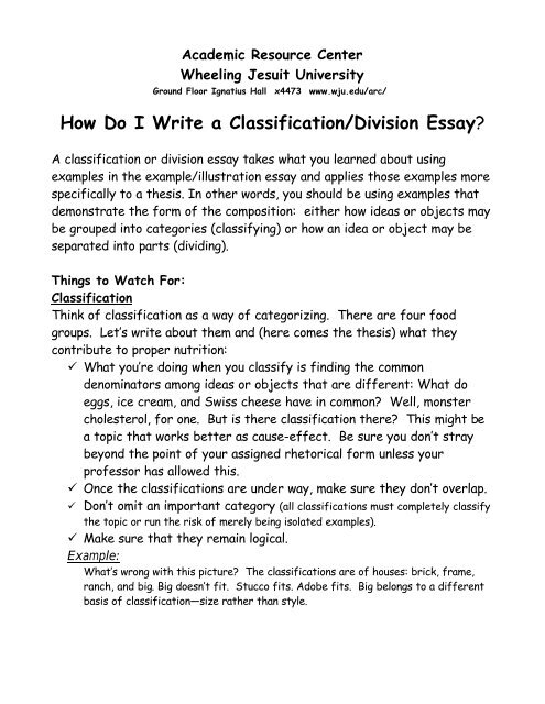 Dividing and classifying essay