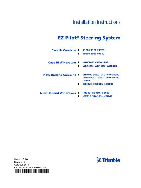 ez pilot steering system installation instructions new holland plm rh yumpu com