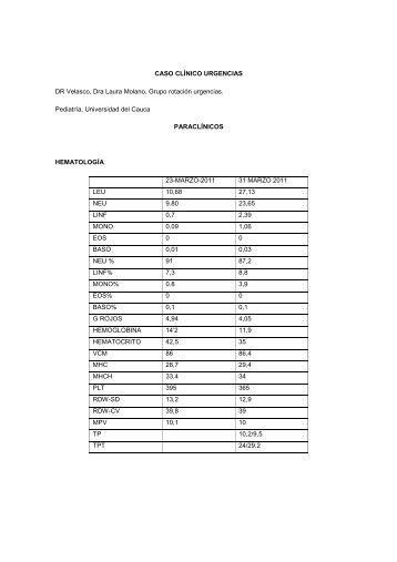 Caso clinico - Urgencias pediatria - Facultad Ciencias de la Salud