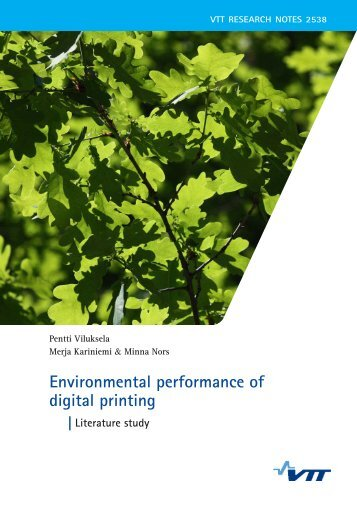 Environmental performance of digital printing. Literature study - VTT