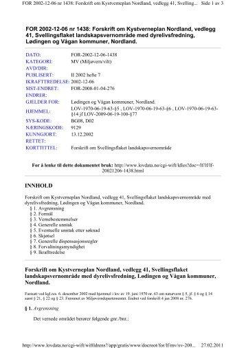 Forskrifter for vern av Svellingsflaket