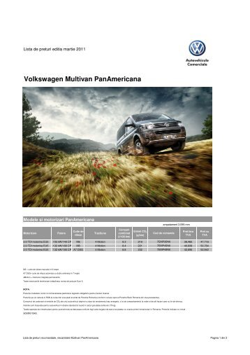 Lista de pret PanAmericana Martie 2011 - Volkswagen Autovehicule ...