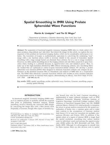 Spatial smoothing in fMRI using prolate spheroidal ... - Tor D. Wager