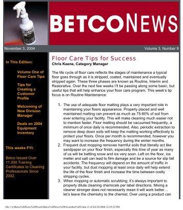 Betco News November 3, 2004 - Betco Corporation