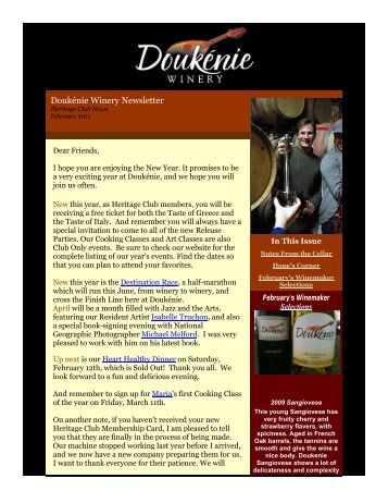 Doukénie Winery Newsletter - Doukenie Winery