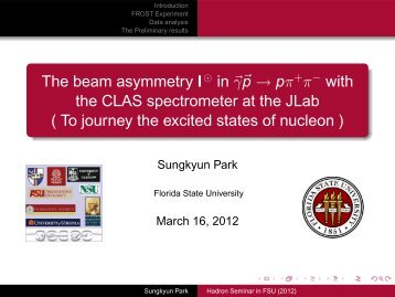 Seminar Talk - Hadronic Nuclear Physics - Florida State University