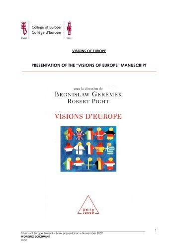 """PRESENTATION OF THE """"VISIONS OF EUROPE"""" MANUSCRIPT"""