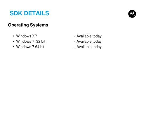 SDK DETAILS Operating Sys