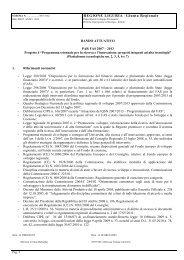 Progetto 4 - Programma triennale per la ricerca e l ... - Regione Liguria