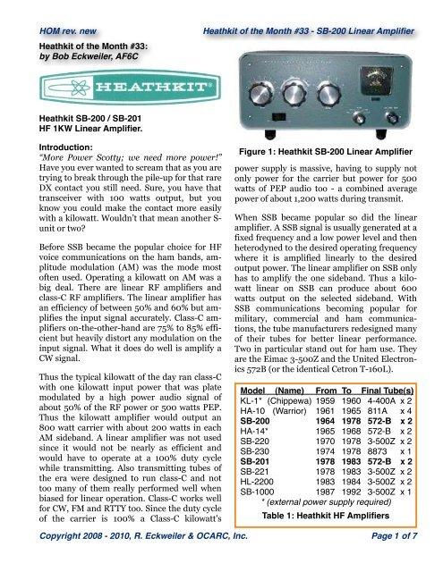 Heathkit SB 200 W6ZE