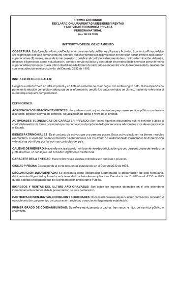 formulario unico declaracion juramentada de bienes y rentas y ...