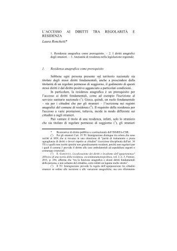 L'accesso ai diritti tra regolarità e residenza - ISSiRFA - Cnr