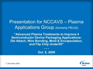 Presentation for NCCAVS – Plasma Applications Group (formerly ...