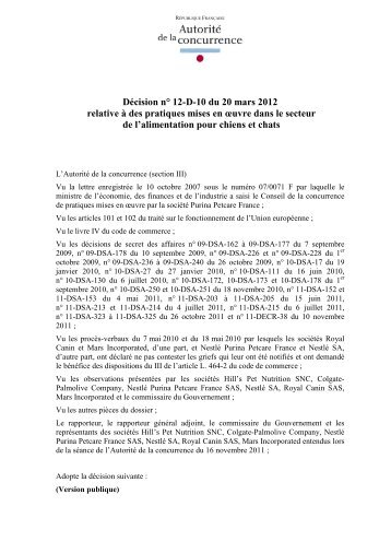 Décision n° 12-D-10 du 20 mars 2012 relative à des pratiques mises ...