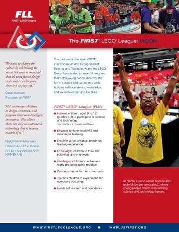 The FIRST ® LEGO® League: VISION