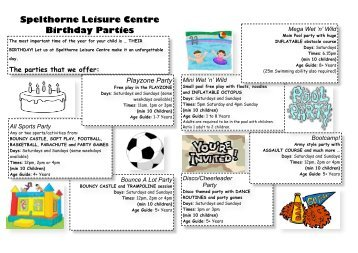 Birthday Parties leaflet - internet version - Everyone Active