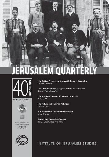 INSTITUTE OF JERUSALEM STUDIES - Jerusalem Quarterly