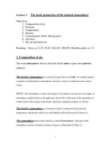 Lecture 3. The basic properties of the natural atmosphere 1 ...