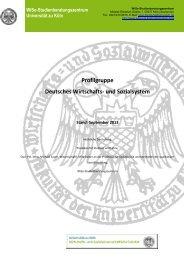 Deutsches Wirtschafts- und Sozialsystem 1 - Universität zu Köln