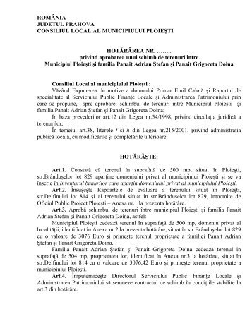 Hotararea privind aprobarea unui schimb de terenuri ... - Ploiesti.ro
