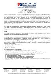 APC BRISBANE Access and Equity Policy - Australian Pacific College