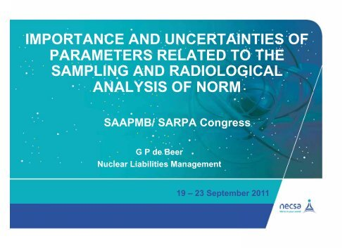 IMPORTANCE AND UNCERTAINTIES OF PARAMETERS ...
