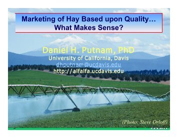 Marketing of Hay Based upon Quality, What Makes Sense?