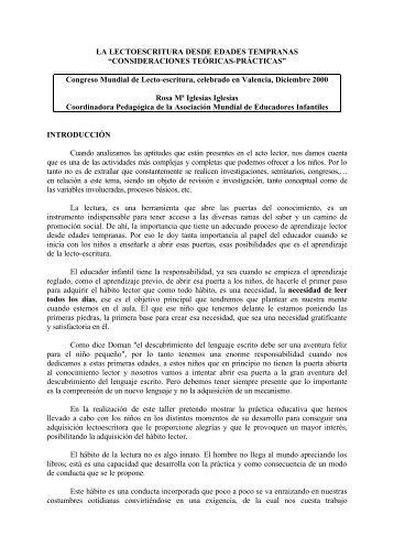 LA LECTOESCRITURA DESDE EDADES TEMPRANAS ...