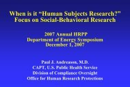 When is it Human Subjects Research presentation - Department of ...