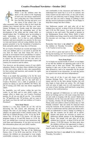 May Newsletter Creative Preschool Inc