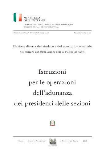 Istruzioni per le operazioni dell'adunanza dei presidenti delle sezioni