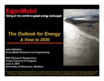 The Outlook for Energy - Engine Research Center - University of ...