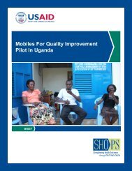 Mobiles For Quality Improvement Pilot In Uganda - SHOPS project