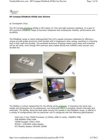 HP Compaq EliteBook 6930p User Review - Student Discount Laptops