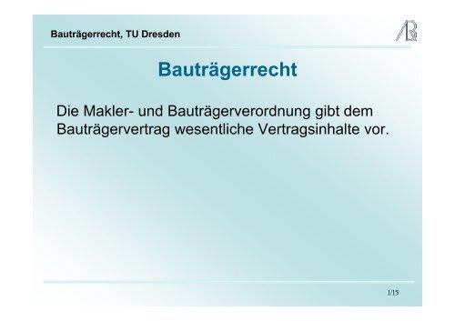 Bauträgerrecht, TU Dresden - Prof-rauch-tu-dresden.de