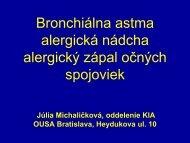 Bronchiálna astma alergická nádcha alergický zápal očných ...