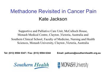 Methadone Revisited in Cancer Pain - Faculty of pain medicine