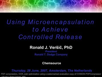 Using Microencapsulation to Achieve Controlled ... - Chemspec Events