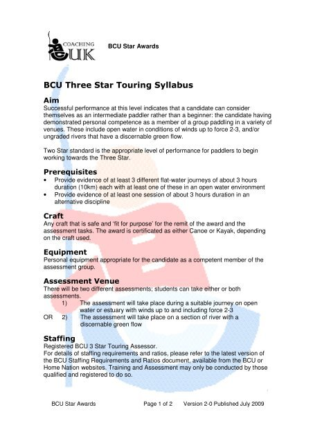 BCU 3 Star Touring Syllabus - Canoe England