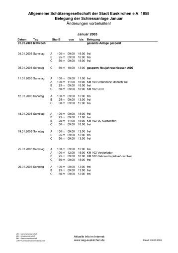 Belegung 2003 - Allgemeine Schützengesellschaft der Stadt ...
